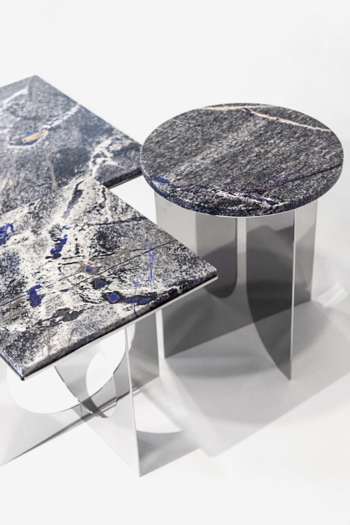 Surfaces réfléchissantes: Azul Bahia, Gallery Bensimon 2017, mirror tables