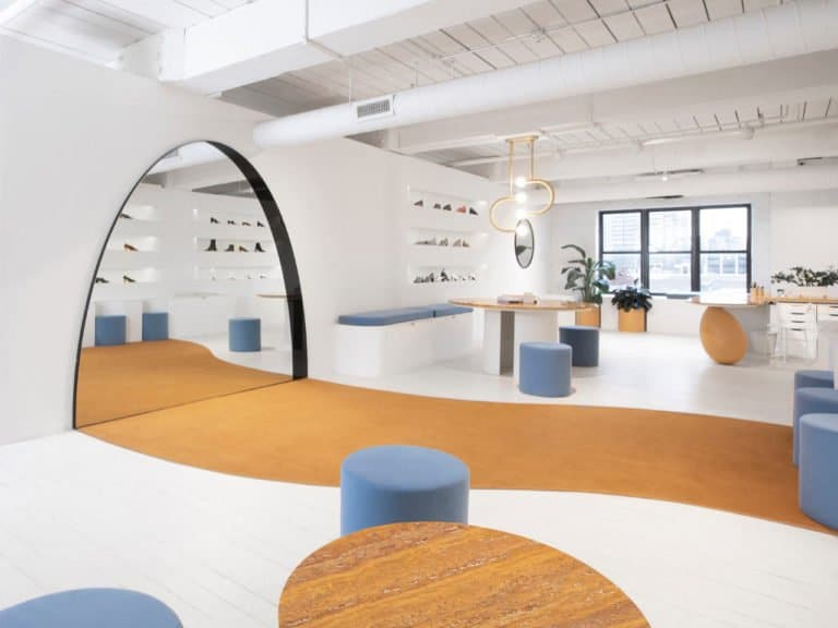 A contemporary interior design shoe store in Brooklyn designed by Bower NYC.