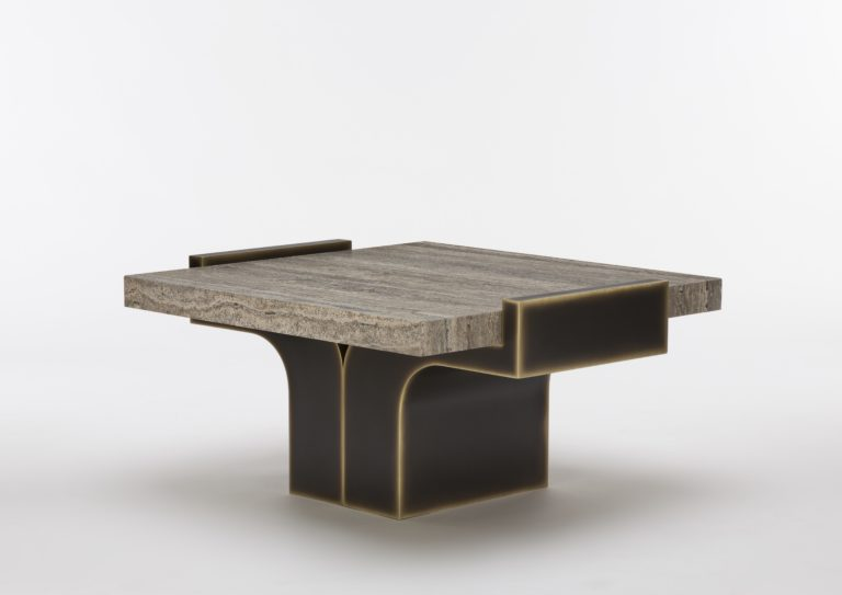 On the occasion of Maison&Objet and Paris Deco Off 2019, designer Stéphane Shepherd designed a travertine coffee table for Pouenat.