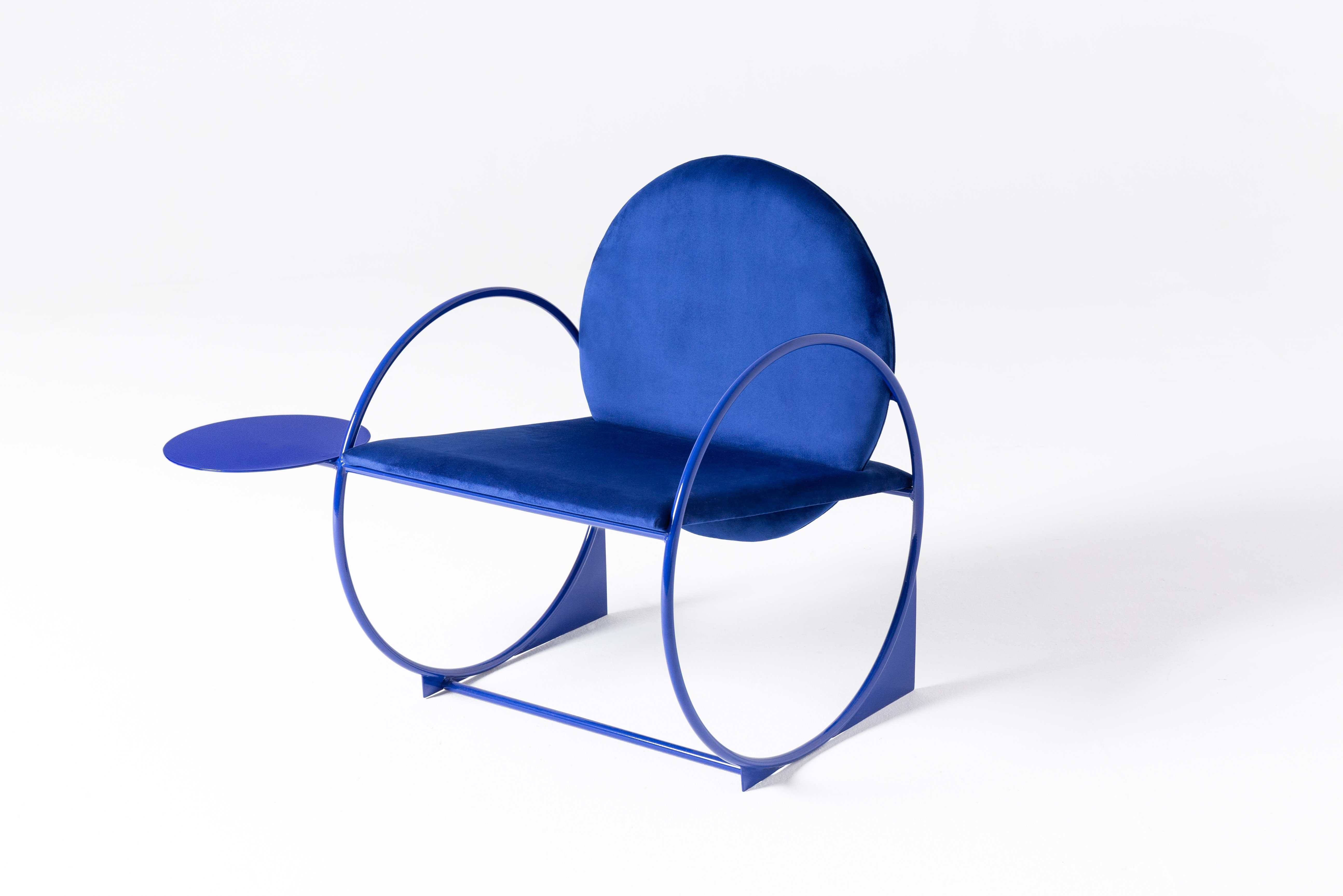 Blue lounge chair, collectible design.