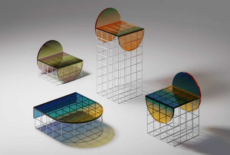 Ombré glass Circle Set Furniture Design collection