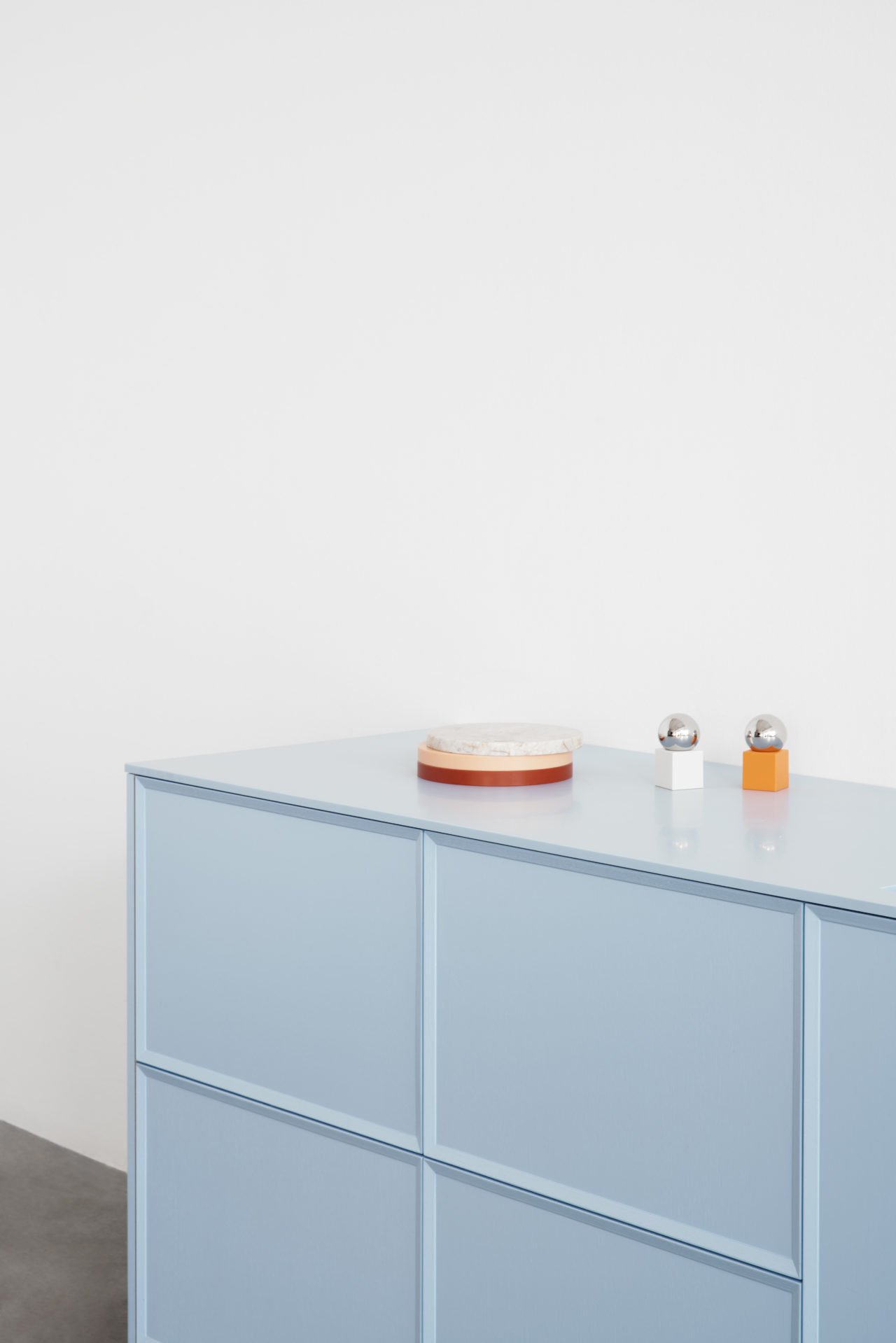 Reform light blue kitchen cabinets by Note Design Studio.
