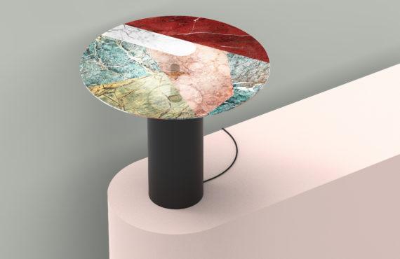 Lampe design en marqueterie de marbre par Episode Studio.