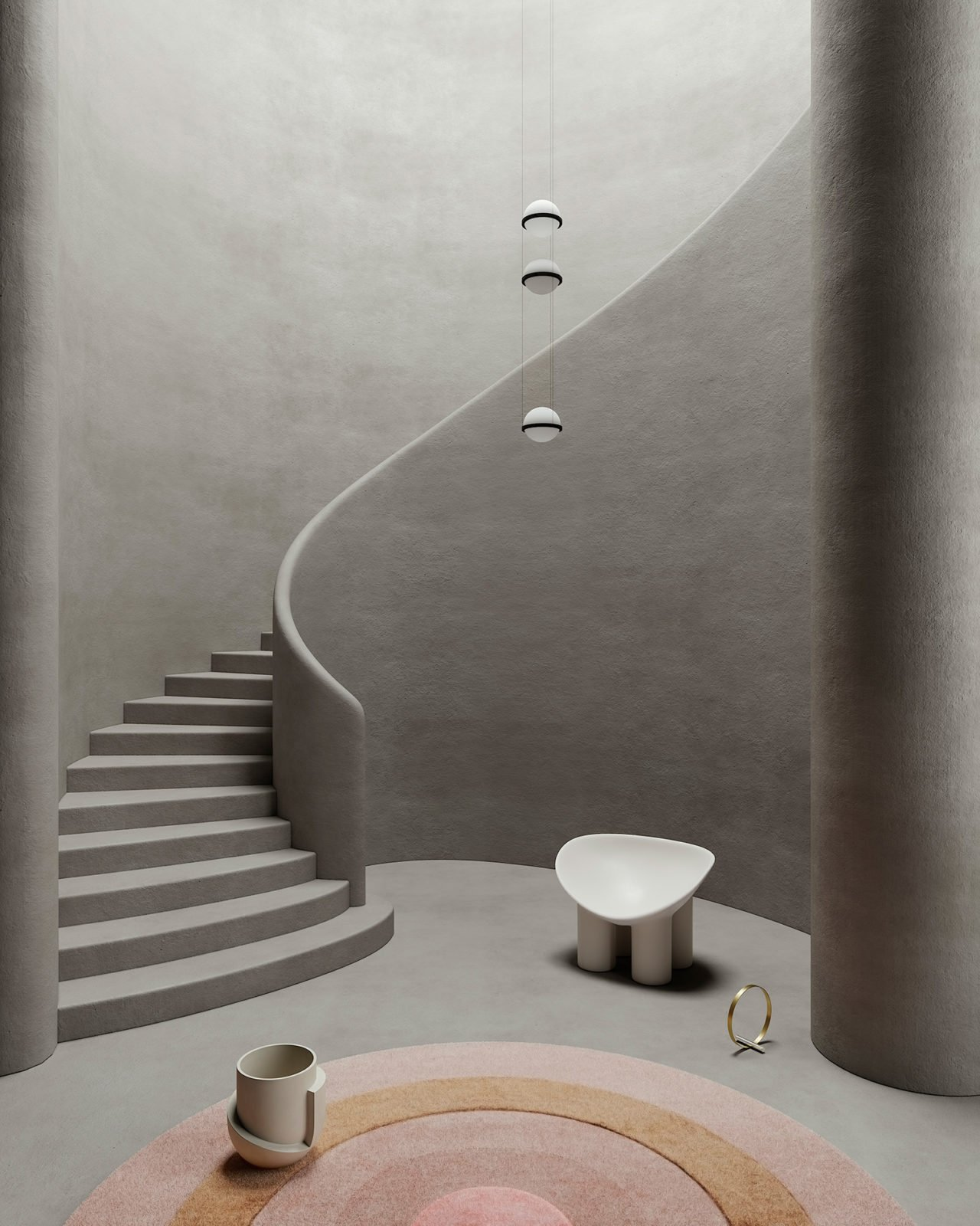 Design set around a staircase, Cristina Lello.