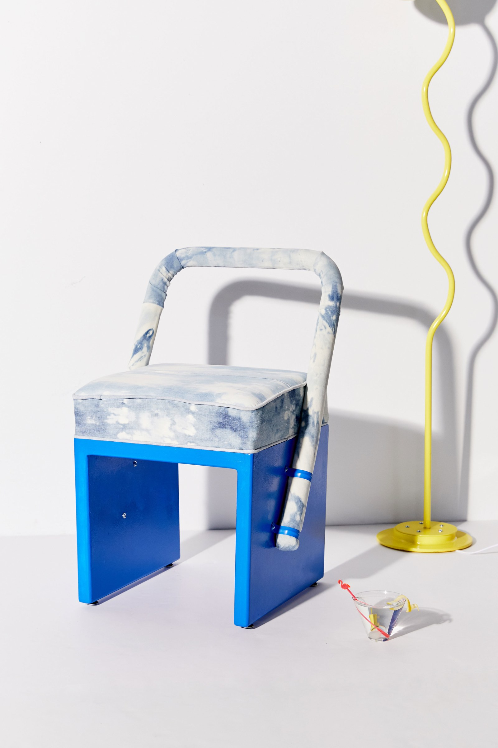 UO x Clever, Bleached Denim chair by Elise MacMahon