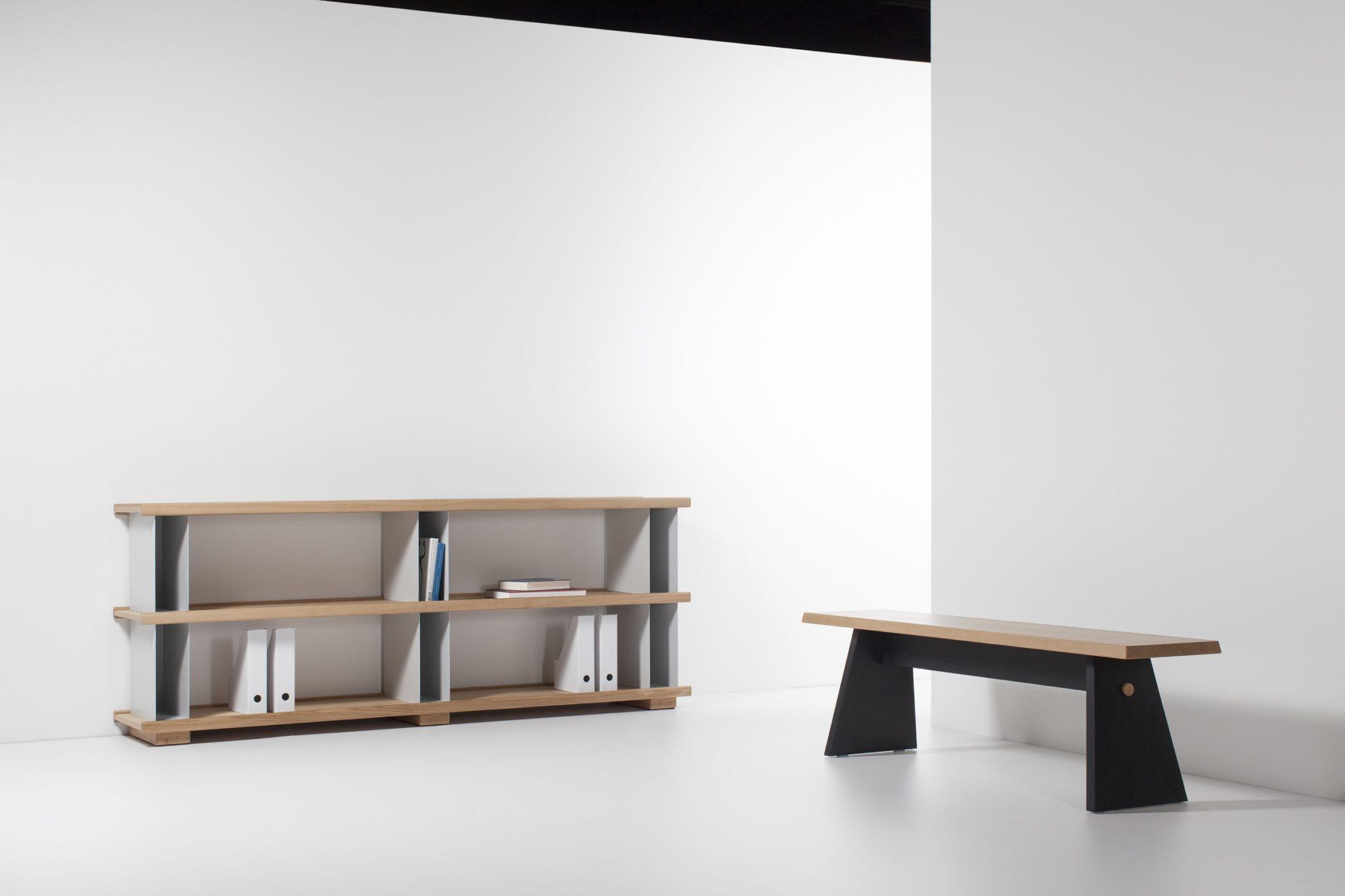 Maison et Objet 2020, Cruso Belgian wooden furniture, bench designed by Jean-François D'Or