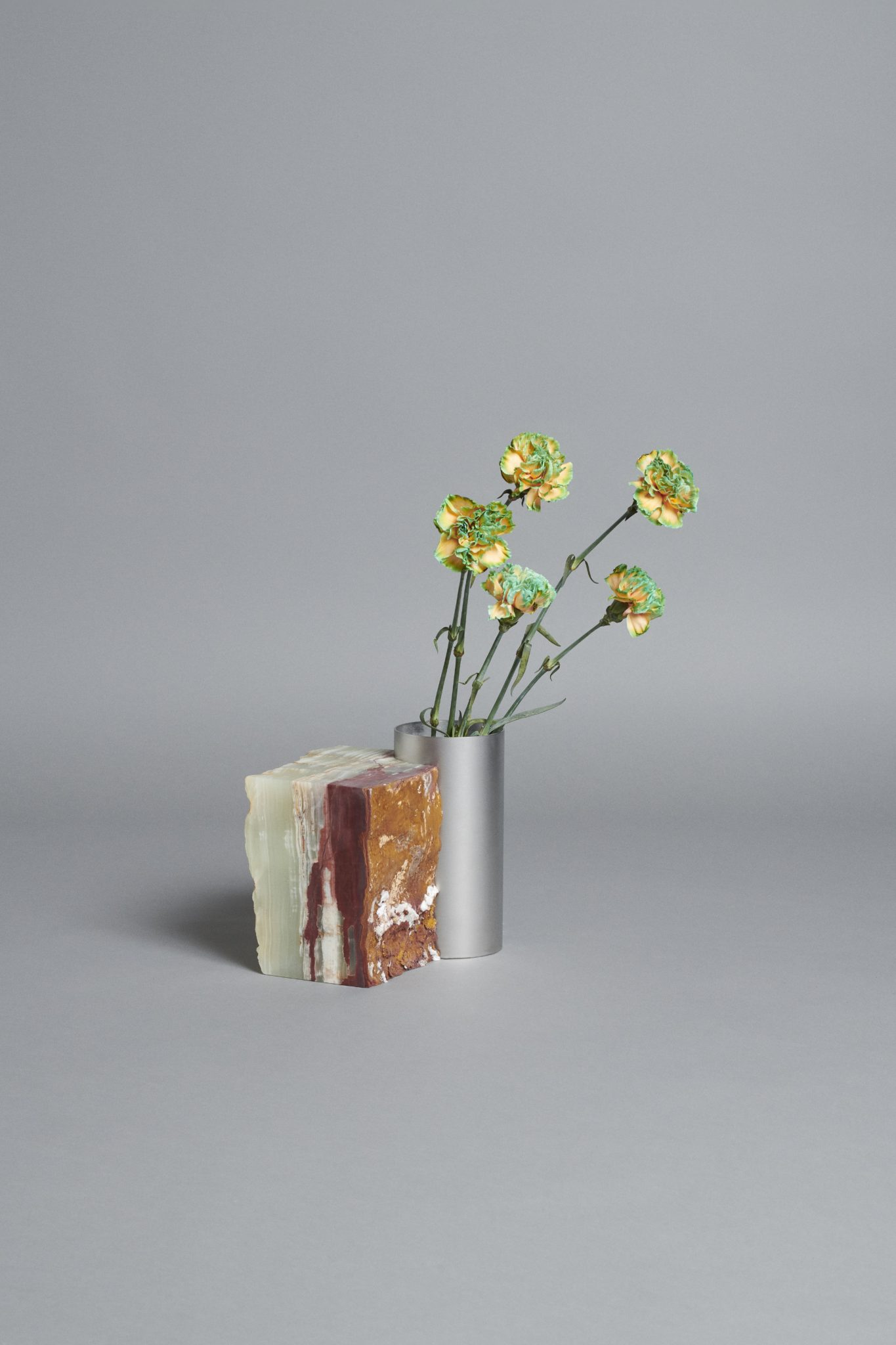 Bloc Studios x Tableau, minimal marble and metal vase