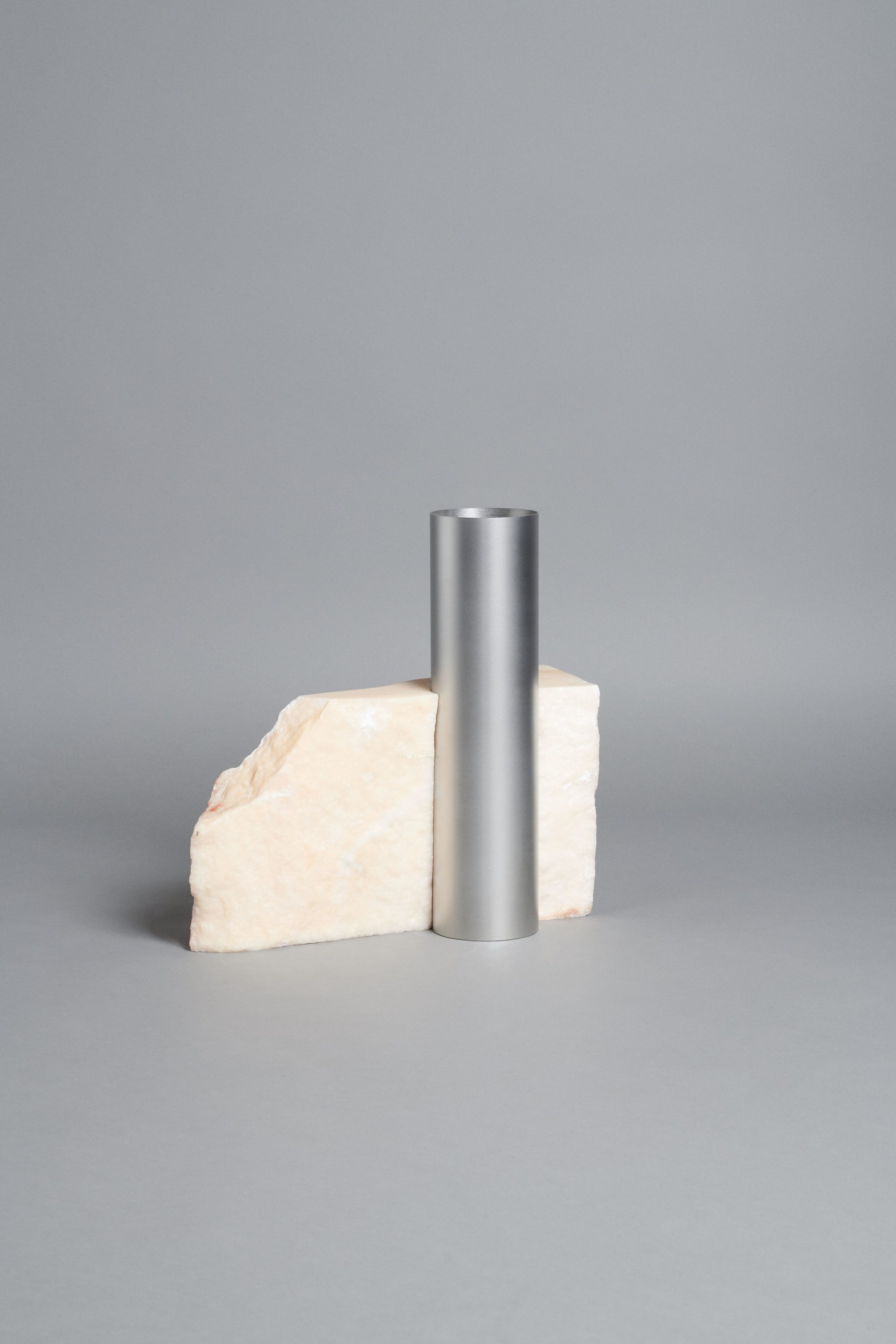 Bloc Studios x Tableau, Light Pink marble and metal vase