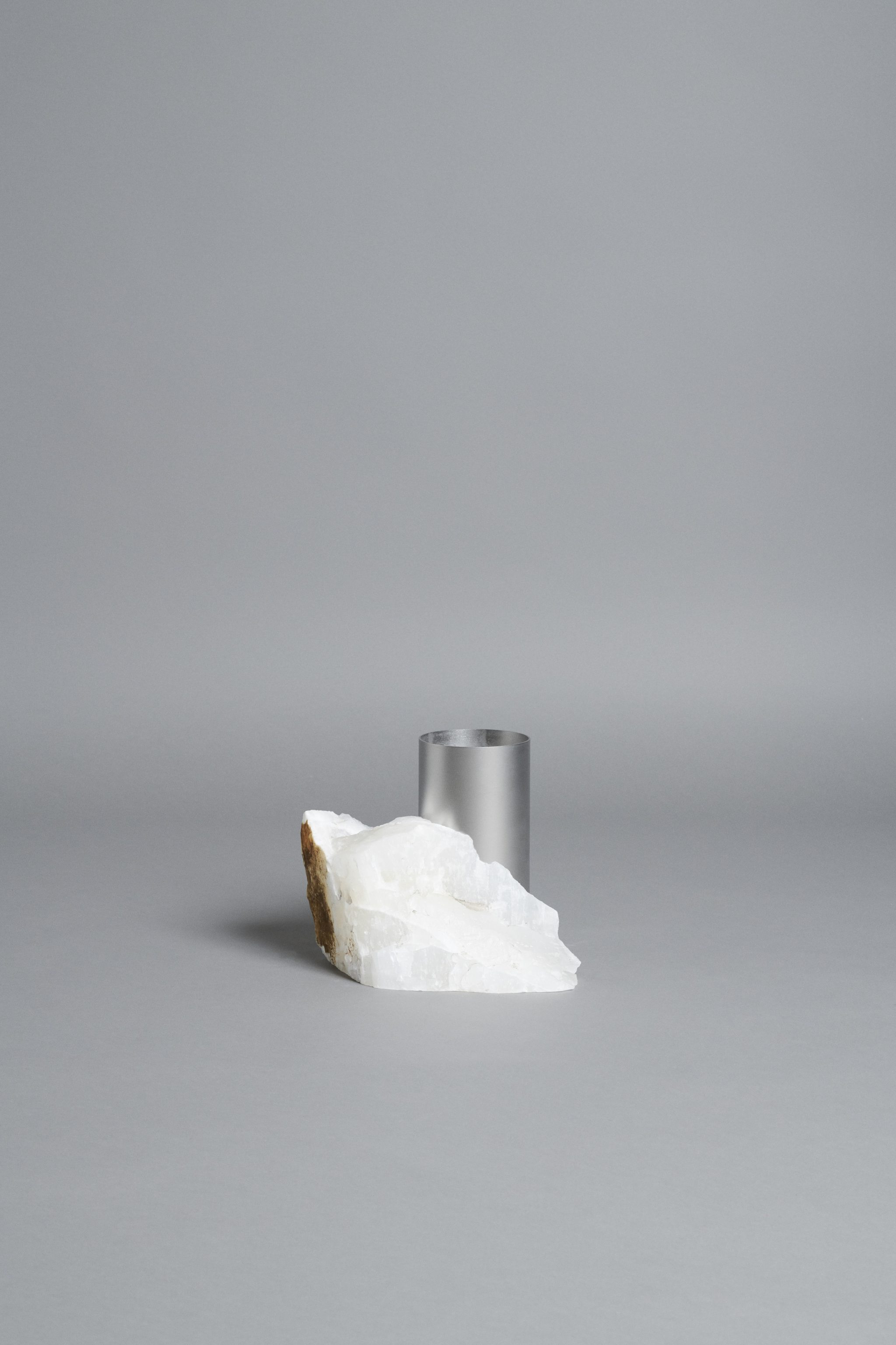 Bloc Studios x Tableau, Minimal white marble and metal vase