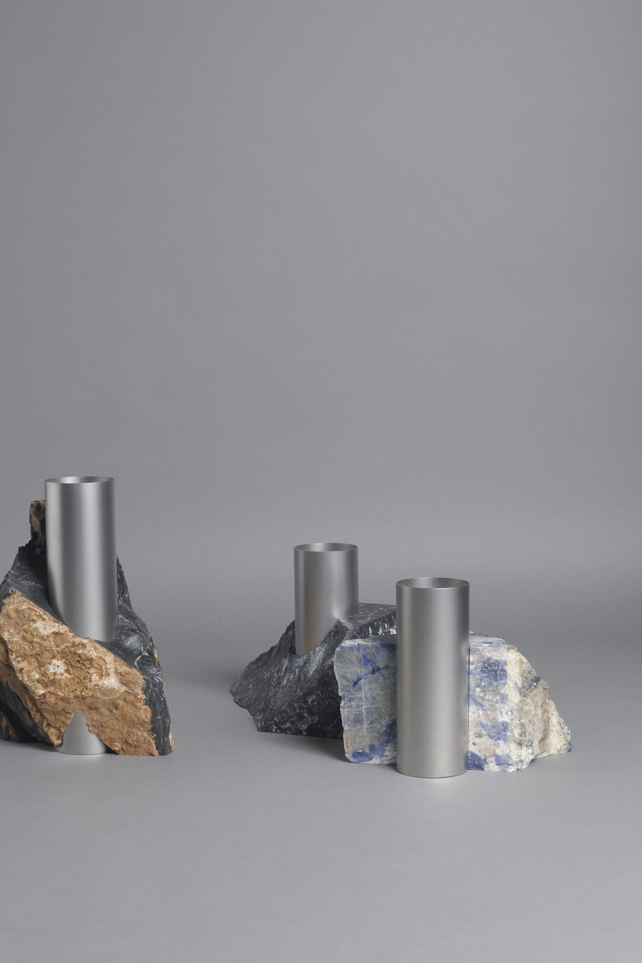 Bloc Studios x Tableau, Minimal marble and metal vase series